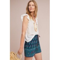 Anthropologie Women Azura Printed Shorts BLUE MOTIF Viscose Side slant pockets 48155675 NVPTXZD
