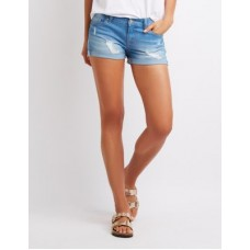 Charlotte Russe Women Destroyed Cuffed Push-Up Denim Shorts INDIGO 302532513 WBKSGTM