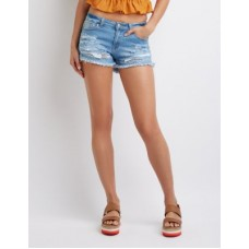 Charlotte Russe Women Destroyed Cut Off Denim Shorts INDIGO 302532671 ZRZQMCU