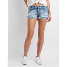 Charlotte Russe Women Destroyed Cut Off Denim Shorts INDIGO 302532776 BZEIGYW