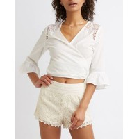 Charlotte Russe Women Floral Lace Shorts TAUPE 302562181 DWCRBWI