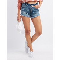 Charlotte Russe Women Refuge Destroyed Hi-Rise Cheeky Denim Shorts INDIGO 302501471 YLGHHSX