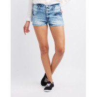 Charlotte Russe Women Refuge Hi-Waist Shortie Denim Shorts DENIM 302505459 LGNYYHV
