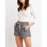 Charlotte Russe Women Striped Tie Front Shorts NAVY MULTI 302561984 BSRJHPR