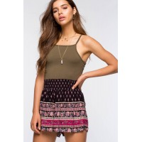 Women Bohemian Border Smocking Shorts Black Print 103460165 TVCOMOL