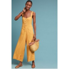 Anthropologie Women Alaro Wide-Leg Jumpsuit GOLD Linen lyocell cotton Wideleg silhouette 4123448540001 BFXNDRA