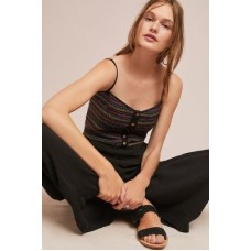 Anthropologie Women Artemis Embroidered Jumpsuit BLACK Rayon; cotton lining Vneck 4123443230022 YMZVLLE