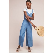 Anthropologie Women Daytripper Chambray Jumpsuit DENIM LIGHT Cotton Vneck 4130529650003 ZRUIJMR