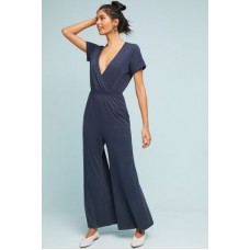 Anthropologie Women Elmira Jumpsuit NAVY Cotton polyester spandex Vneck 46306940 KNHVKBO