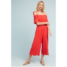 Anthropologie Women Lela Wide-Leg Jumpsuit BRIGHT RED Viscose linen Adjustable tie straps 4123448390006 UYRXIJC