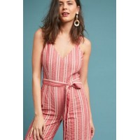 fd910fa7ae0 Anthropologie Women Robin Cropped Wide-Leg Jumpsuit RED MOTIF Cotton ramie  Vneck 4123612070001 FWLYCBF
