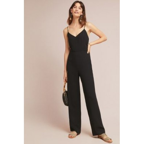df22ba97b96 Anthropologie Women The Essential Strappy Jumpsuit BLACK An Anthropologie  exclusive Viscose 4123348696462 EKBOCAG