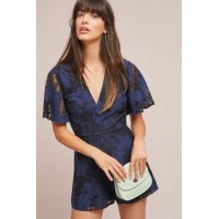 Anthropologie Women The Love Flutter-Sleeve Romper NAVY Nylon cotton Flutter sleeves 46737763 BQUORJF