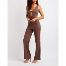 Charlotte Russe Women Cut Out Wide Leg Jumpsuit CAMEL 302587528 MDQDZOX