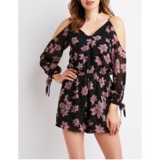 Charlotte Russe Women Floral Cold Shoulder Romper BLACK MULTI 302545757 SPNSFRO