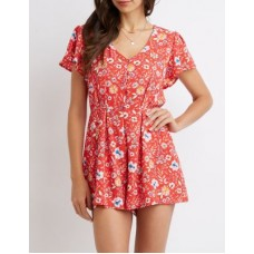 Charlotte Russe Women Floral Open Back Romper RED MULTI 302546639 BSBCQTZ