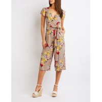 Charlotte Russe Women Floral Wrap Jumpsuit TAUPE MULTI 302572859 MLMSCRP
