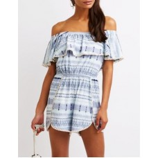 0f13950ff0 Charlotte Russe Women Off The Shoulder Romper BLUE MULTI 302555329 UFTQCLY