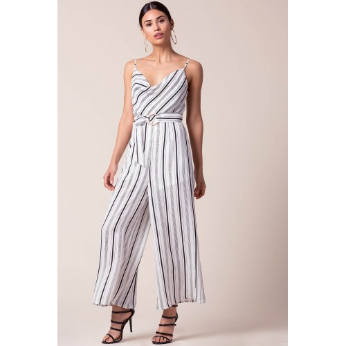 Women All Natural Belted Jumpsuit White Pattern 102804712 NTOEZZL
