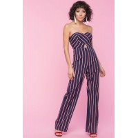 Women Ava Stripe Tube Jumpsuit Blue Pattern 102054641 VDIUPTY