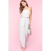 Women Becca Stripe Cold Shoulder Jumpsuit Blue Pattern 103917807 UWKSPSC