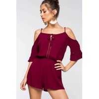 Women Bell Sleeve Cold Shoulder Romper Plum/Eggplant 103462814 GYXUDXJ