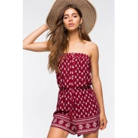 Women Border Print Tube Romper Red Print 103656011 AVVKCBE