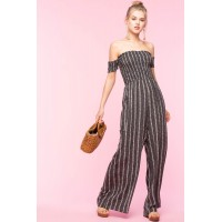 Women Chevron Smocked Off Shoulder Jumpsuit Black Pattern 103004602 LOJKRIM