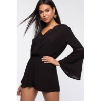 Women Crushin On Crochet Romper Black 103912900 RLBHXQN