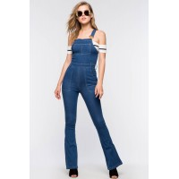 Women Denim Overall Jumpsuit Med Wash Denim 102660018 UFRZHII