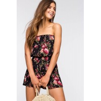 Women Easy Floral Tube Romper Black Print 102659092 IMWJVTY