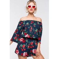 Women Floral Off Shoulder Romper Blue Print 102658022 GCOWTPY