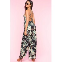 Women Floral Smocked Wide Leg Jumpsuit Black Print 103703796 WWRFDNZ