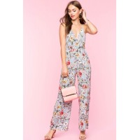 Women Florals On Stripe Jumpsuit Blue Pattern 103656441 OMPARHE