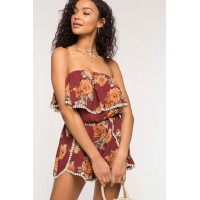 Women Hannah Floral Romper Red Print 103105091 LONMQCW
