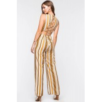 Women Honey Mustard Jumpsuit Yellow Pattern 103156825 QJIBXQR