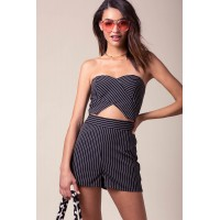 Women Lovey Dovey Stripe Romper Black Pattern 102260671 VHFYPAJ