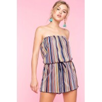 Women Multi Stripe Tube Romper Multi 103655755 PNZMNPR