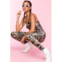 Women One And Only Contrast Jumpsuit Green Print 103254759 JMSNRBS