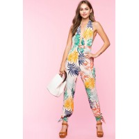 Women Palm Tropical Halter Jumpsuit White Print 103917495 IYGPTMF
