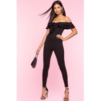 Women Ruffle Off Shoulder Skinny Jumpsuit Black 103553661 MNUYDIU
