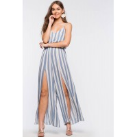 Women Soft Stripe Slit Jumpsuit Blue Pattern 103105163 UKWKZUR