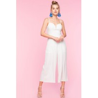 Women Stripe Lace Up Back Jumpsuit White Pattern 103653872 FACTDZZ
