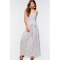 Women Stripe Tie Front Jumpsuit White/Black Pattern 102857988 SAWDUCX