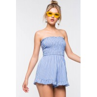 Women Stripe Tube Smock Romper Blue Pattern 103156930 UEAVRCL