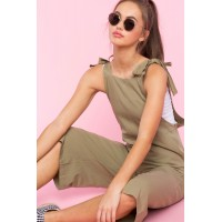 Women Tie Shoulder Crop Overalls Olive 102864504 GIZATDY