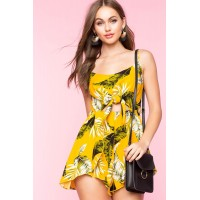 Women Tropical Leaf Tie Front Romper Yellow Print 103757250 KWCFRVW