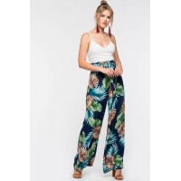 Women Tropical Paperbag Jumpsuit Blue Print 103456300 CLQFIJS