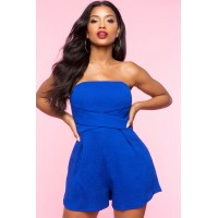 Women Tube Criss Cross Romper Royal 102864926 YZEAJUM