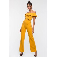 Women Valencia Ruffle Off Shoulder Jumpsuit Mustard 103904838 JKJUSOQ